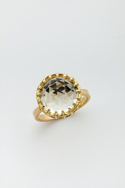 Mesh Prong 14k Ring with Fancy-Cut 12mm Quartz Dome Cabochon