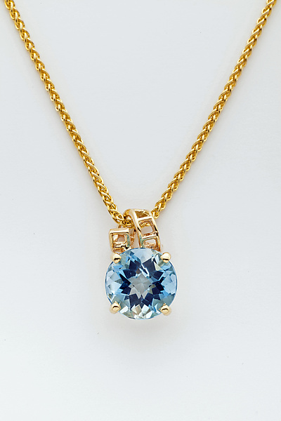 Mesh 14K Pendant with Ribbon Bale and Fancy Cut Round Blue Topaz