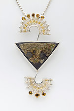Fandango Silver Pendant with Iridescent Marcasite Drusy and Andradite Garnet by Marie Scarpa (Gold, Silver & Stone Necklace)