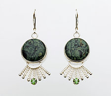 Fandango Silver Lever-Back Earrings with Fossil Algae and Green Tourmaline by Marie Scarpa (Silver & Stone Earrings)