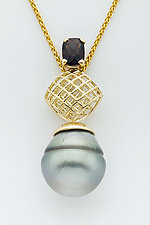 Mesh Diamond Pendant with Tahitian Pearl and Smoky Quartz by Marie Scarpa (Gold & Stone Necklace)