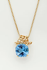 Mesh 14K Ribbon Pendant with Fancy Cut Cushion Blue Topaz by Marie Scarpa (Gold & Stone Necklace)