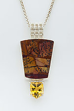 Mesh Silver Pendant with Indian Paint Rock and Citrine by Marie Scarpa (Silver & Stone Necklace)