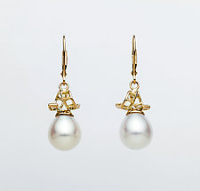 Mesh 14K Ribbon Lever-Backs with White Drop Pearls by Marie Scarpa (Gold & Stone Earrings)
