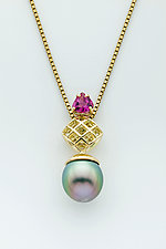 Mesh 14K Diamond Pendant with Tahitian Drop Pearl and Pink Tourmaline by Marie Scarpa (Gold & Stone Necklace)
