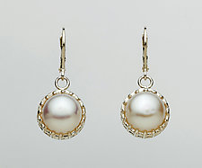 Mesh Silver Prong Lever-Back Earrings with Pearls by Marie Scarpa (Silver & Stone Earrings)