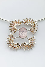 Fandango Silver Pendant Necklace with Rose Quartz by Marie Scarpa (Gold, Silver & Stone Necklace)