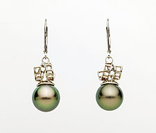 Mesh 14K White Gold Ribbon Lever-Backs with Tahitian Pearls by Marie Scarpa (Gold & Stone Earrings)