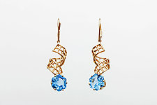 Mesh 14K Ribbon Lever-Backs with Hexagon Blue Topaz by Marie Scarpa (Gold & Stone Earrings)