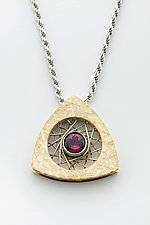 Spyro Triangle Pendant 14K with Rubellite Tourmaline by Marie Scarpa (Gold & Stone Necklace)