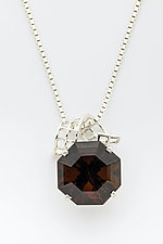Mesh Silver Ribbon Pendant with Smoky Topaz by Marie Scarpa (Silver & Stone Necklace)