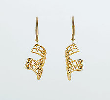 Mesh 14K Curled Ribbon Lever-Back Earrings by Marie Scarpa (Gold Earrings)