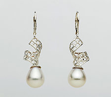 Mesh Silver Ribbon Lever-Backs with White Drop Pearls by Marie Scarpa (Silver & Stone Earrings)