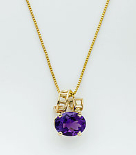 Mesh 14K Pendant with Oval Faceted Amethyst by Marie Scarpa (Gold & Stone Necklace)