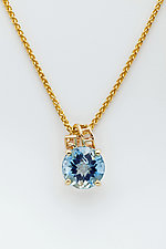 Mesh 14K Pendant with Ribbon Bale and Fancy Cut Round Blue Topaz by Marie Scarpa (Gold & Stone Necklace)