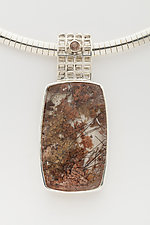 Mesh Silver Pendant with lodolite in Quartz by Marie Scarpa (Silver & Stone Necklace)