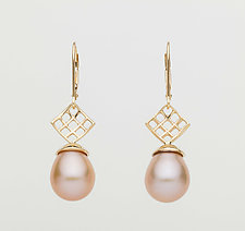 Mesh 14K Lever-Back Earrings with Pink Drop Freshwater Pearl by Marie Scarpa (Gold & Stone Earrings)