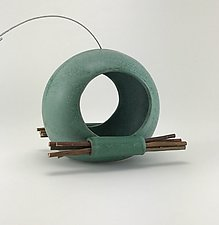 Orb Bird Feeder with Twigs by Cheryl Wolff (Ceramic Bird Feeder)