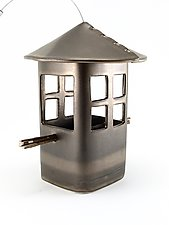 Bronze Bird Feeder with Windows by Cheryl Wolff (Ceramic Bird Feeder)