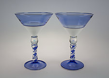 Pair of Blue and White Martini Glasses by Dan Albrecht (Art Glass Drinkware)
