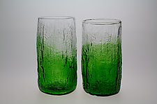 Green Textured Pint Glasses by Dan Albrecht (Art Glass Drinkware)