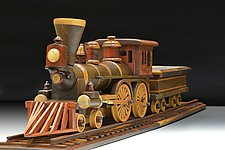 Steam Locomotive and Coal Car by Baldwin Toy Co. (Wood Sculpture)