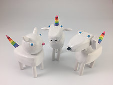 Sparkle Rainbow Critters by Hilary Pfeifer (Wood Sculpture)