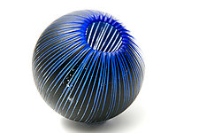 Striated Cobalt Particle by Joshua Solomon (Art Glass Sculpture)