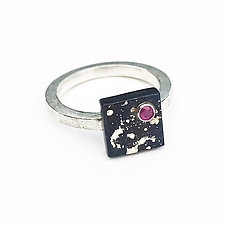 Mini Cube X Ring by Deborah Vivas and Melissa Smith (Gold, Silver & Stone Ring)