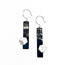 Long Side Cube Earrings by Deborah Vivas and Melissa Smith (Gold & Silver Earrings)