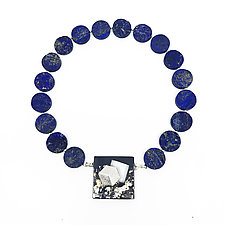 Square Meeting Lapis Necklace by Deborah Vivas and Melissa Smith (Gold, Silver & Stone Necklace)