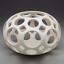 Pierced Tabletop Orb by Lynne Meade (Ceramic Vessel)