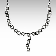 Crazy Squares Statement Necklace by Nina Scala (Silver Necklace)