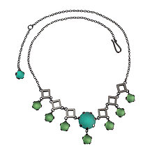 Deco Squares Necklace by Nina Scala (Silver & Glass Necklace)