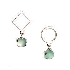 Asymmetrical Drop Earrings by Nina Scala (Silver & Stone Earrings)