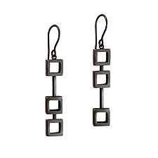 Tiny Squares in a Row Earrings by Nina Scala (Silver Earrings)