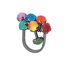 Rainbow Fidget Ring by Nina Scala (Silver & Glass Ring)
