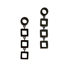 Tiny Geometric Dangle Earrings by Nina Scala (Silver Earrings)