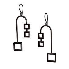 Balanced Squares Earrings by Nina Scala (Silver Earrings)