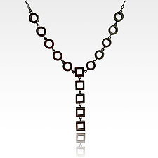 Geometric Block Necklace by Nina Scala (Silver Necklace)
