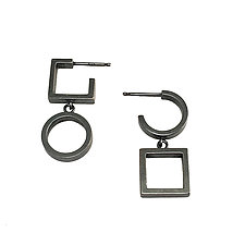 Asymmetric Circle and Square Drop Earrings by Nina Scala (Silver Earrings)