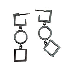 Square Circle Square Earrings by Nina Scala (Silver Earrings)