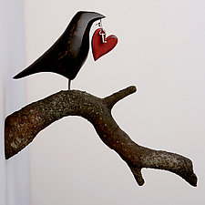 Raven on Branch with Heart by Mark Orr (Wood Sculpture)