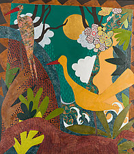 Animals and Birds at the Waterfall by Lynne Feldman (Mixed-Media Painting)