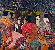 The Gathering by Lynne Feldman (Cotton Painting)