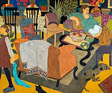 Sunday Evening at Home by Lynne Feldman (Mixed-Media Painting)