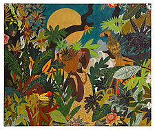 Woman in Rainforest by Lynne Feldman (Mixed-Media Painting)