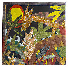 Deer in the Moonlight by Lynne Feldman (Mixed-Media Painting)