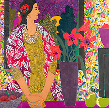 Pensive Woman with Bird by Lynne Feldman (Mixed-Media Painting)