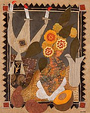 Still Life with Candelabra and Flowers by Lynne Feldman (Mixed-Media Painting)